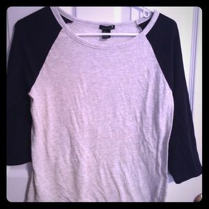 Forever 21 3/4 length T-shirt(Navy and gray)